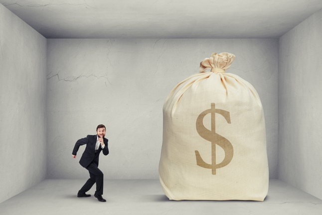 man come to the big bag of money
